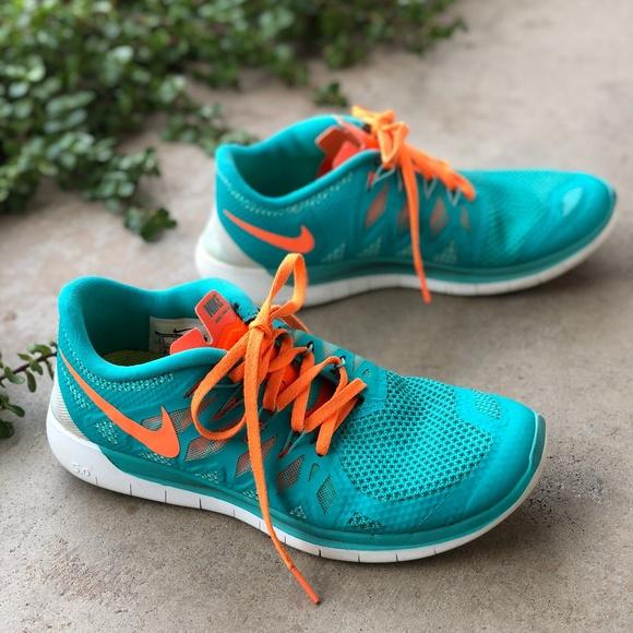 Nike Free 5 Aqua Orange Running Workout